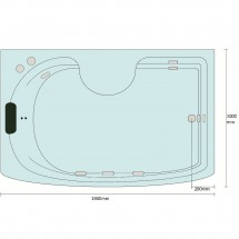 Bad Douche Whirlpool Stoom Combi 190x100CM Monza XXL