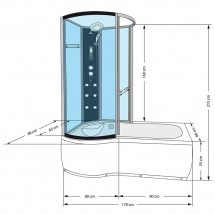 Douche- Bad- Whirlpool Combinatie Orso 170 x 98 x 215 cm