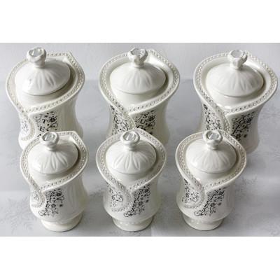 Porselein voorraadpotten 6-Delig