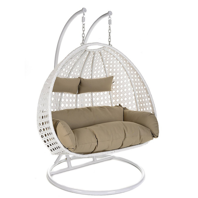 Hangstoel Hang Stoel.2 Persoons Hangstoel Duo White Wicker Hangstoel