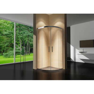 Douchecabine 80X80 Kwartrond Floor- Helder Glas