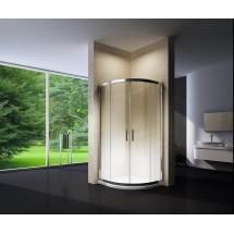 Douchecabine 80x80CM Kwartrond Floor LB- Mat Glas - Lage Douchebak