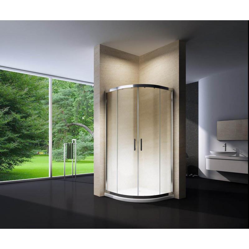 Douchecabine 100x100CM Kwartrond Floor LB- Mat Glas - Lage Douchebak