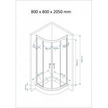 Douchecabine 80x80CM Kwartrond Floor HB- Helder Glas