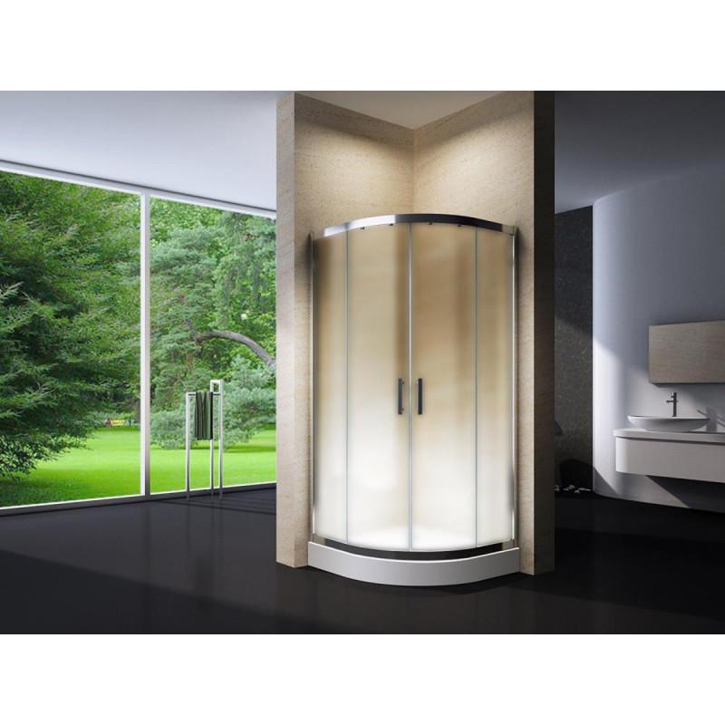 Douchecabine 80x80CM Kwartrond Floor HB- Mat Glas