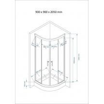 Douchecabine 90x90CM Kwartrond Floor HB- Helder Glas