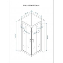 Douchecabine 80x80CM Vierkant Mina- Helder Glas