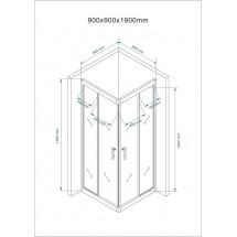 Douchecabine 90x90CM Vierkant Mina- Helder Glas