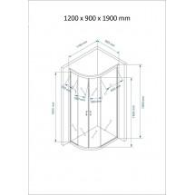 Douchecabine 120x90CM Kwartrond Floor- Helder Glas
