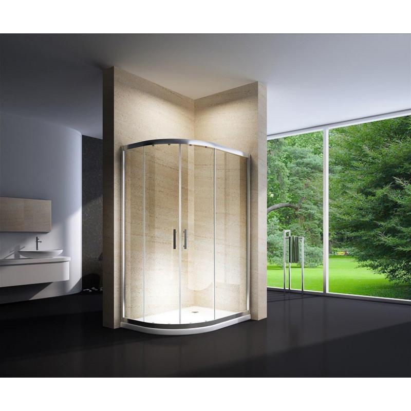 Douchecabine 120x90CM Kwartrond Floor - Lage Bak- Helder Glas