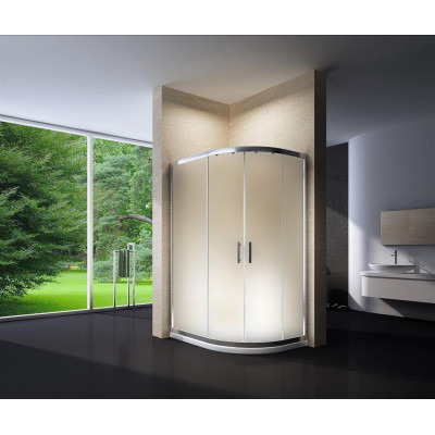 Douchecabine 120X90 Kwartrond Floor LB- Mat Glas