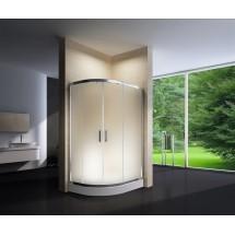 Douchecabine 120x90CM Kwartrond Floor - Hoge DoucheBak- Mat Glas