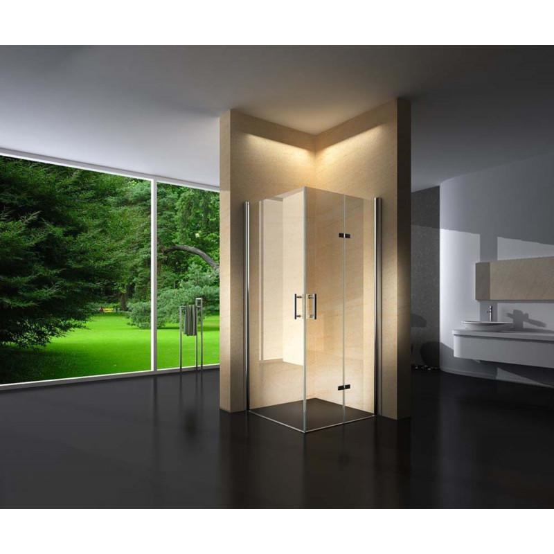 Douchecabine Vierkant 90x90CM Aran. Grote deur en een vouwdeur. Helder Glas.