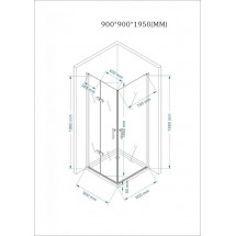 Douchecabine Vierkant 90x90CM Aran LB. Grote deur en een vouwdeur. Met Lage Douchebak. Helder Glas.