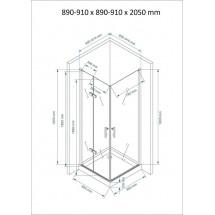 Douchecabine Vierkant 90x90CM Aran. Grote deur en een vouwdeur. Met Hoge Douchebak. Helder Glas.