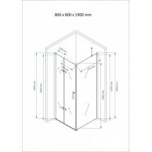 Douchecabine Vierkant 80x80CM Rotana. Vast wand en een vouwdeur. Helder Glas.