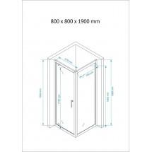 Douchecabine Vierkant 80x80CM Marjo. 1 Douchedeur en Wand. Helder Glas.