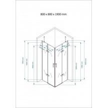 Douchecabine 80x80CM Vierkant Auro - Helder Glas