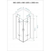 Douchecabine 100x100CM Vierkant Auro - Helder Glas