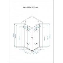 Douchecabine 80x80CM Vierkant Auro LB - Helder Glas - Lage Douchebak