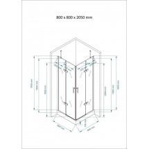 Douchecabine 80x80CM Vierkant Auro HB - Helder Glas - Hoge Douchebak
