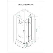 Douchecabine 100x100CM Vierkant Auro HB - Helder Glas - Hoge Douchebak