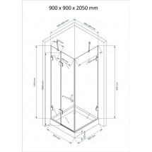 Douchecabine 90x90CM Vierkant Jona HB- Helder Glas- Douchecabine met hoge douchebak