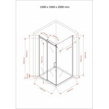 Douchecabine 100x100CM Vierkant Evi- Helder Glas - Lage Bak