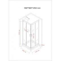 Douchecabine 90x90CM Vierkant Mina- LB Helder Glas