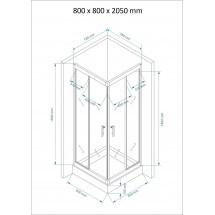 Douchecabine 80x80CM Vierkant Mina HB- Helder Glas