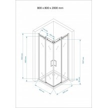 Douchecabine 80x80CM Vierkant Vivo LB- Helder Glas