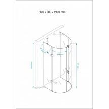 Douchecabine 90x90CM Halfrond Heidi- Helder Glas