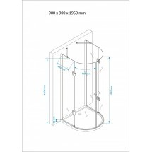 Douchecabine 90x90CM Halfrond Heidi LB- Helder Glas