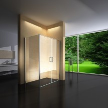 Douchecabine 120x80CM Rechthoekig Argento- Helder Glas