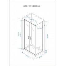 Douchecabine 120x80CM Rechthoekig Argento LB- Helder Glas