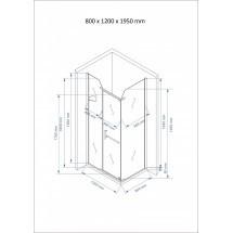 Douchecabine 120x80CM Rechthoekig Nora LB- Helder Glas