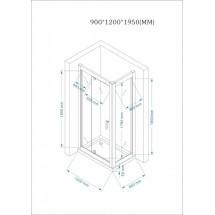 Douchecabine 120x90CM Rechthoekig Marjo LB- Helder Glas