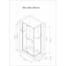 Douchecabine 120x90CM Rechthoekig Marjo HB- Helder Glas