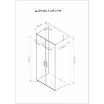 Douchecabine 120x80CM Rechthoekig Idaro- Mat Glas