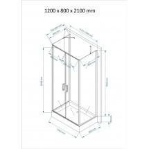 Douchecabine 120x80CM Rechthoekig Idaro HB- Helder Glas