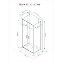 Douchecabine 120x80CM Rechthoekig Idaro HB- Mat Glas