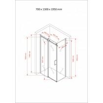 Douchecabine 130x70CM Rechthoekig Vita- Helder Glas