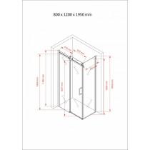 Douchecabine 120x80CM Rechthoekig Vita- Helder Glas