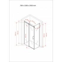 Douchecabine 150x70CM Rechthoekig Vita- Helder Glas