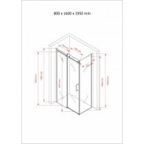 Douchecabine 160x80CM Rechthoekig Vita- Helder Glas