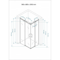 Douchecabine 90x80CM Vierkant Vivo- Helder Glas - Rechts
