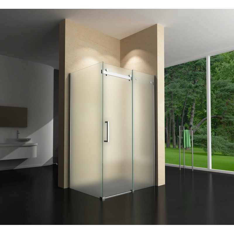 Douchecabine Mat Glas.Vierkante Douchecabine 120x90cm 1 Deur Op Geleider En Vaste Wand