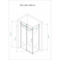 Douchecabine 120x90CM Rechthoekig Vita- Mat Glas. Links