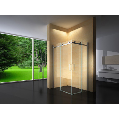 Douchecabine 100X80 Vierkant Vivo- Helder Glas - Rechts