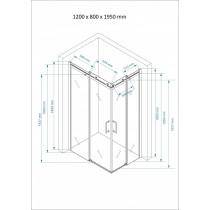 Douchecabine 120x80CM Vierkant Vivo- Helder Glas - Links
